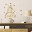 Muur--Raamsticker-Merry-Christmas-Goud