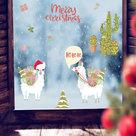Muur--Raamsticker-Kerst-Lama