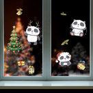 Muur--Raamsticker-Kerst-Panda