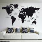 Wereldkaart groot zwart