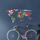 Wereldkaart-Muursticker-Vlaggen