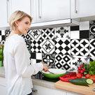 Keuken-Achterwand-Sticker-Portugese-Tegels-XXL-(zwart)-180-x-45-cm