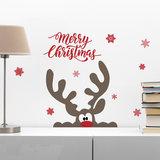 Muur- / Raamsticker Merry Christmas Rendier_