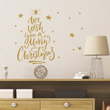 Muur- / Raamsticker Merry Christmas Goud_