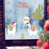Muur- / Raamsticker Kerst Lama_