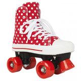Maat 34 - Rookie Rolschaatsen CANVAS HIGH POLKADOTS (rood/wit)_