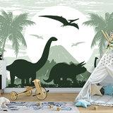 Dinosaurus Triceratops behang XXXL (368 x 254 cm) - PAPIER_