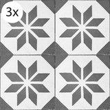 Vloertegel (stickers) - Zwart Motief - 40 x 40 cm (3x)