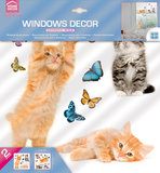Raamsticker Kitten & Vlinders_