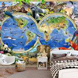 Wereldkaart Safari behang XXXL_
