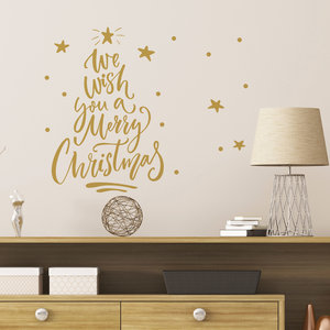 Muur- / Raamsticker Merry Christmas Goud