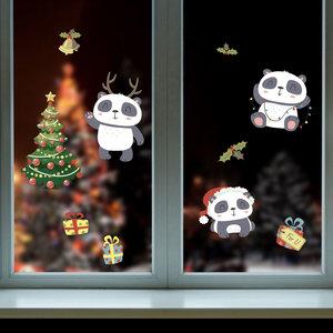 Muur- / Raamsticker Kerst Panda
