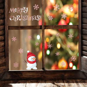 Muur- / Raamsticker Merry Christmas Sneeuwpop