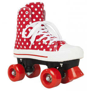 Maat 34 - Rookie Rolschaatsen CANVAS HIGH POLKADOTS (rood/wit)