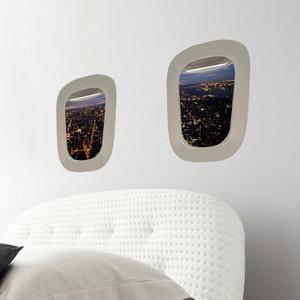 Muursticker Vliegtuigraam Stad bij nacht (set van 2)