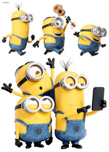 Muursticker Minions Selfie & Run
