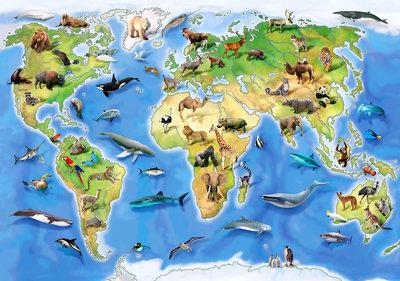Wereldkaart Dieren behang XXXL