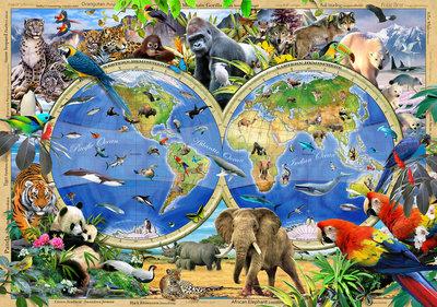 Wereldkaart Safari behang XXXL