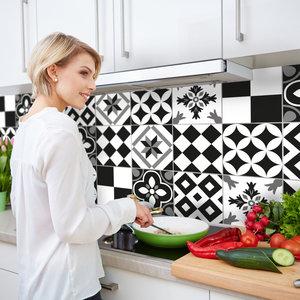 Keuken Achterwand Sticker Portugese Tegels XXL (zwart) - 180 x 45 cm