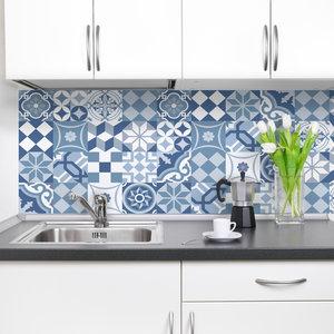 Keuken Achterwand Sticker Portugese Tegels XXL (blauw) - 180 x 45 cm