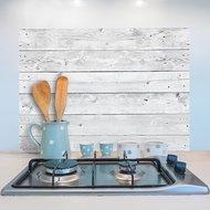 Houten Keukenwand Sticker (wit/grijs)